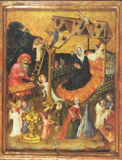 Paneel van de Heilige Familie, gemaakt rond 1400