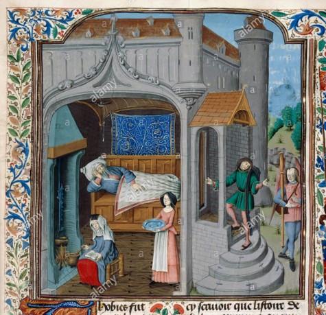 Scène uit het leven van Tobias. Miniatuur Brugge, 1470